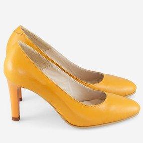 Pantofi comozi din piele naturala galbena Dandelion