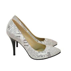 Pantofi dama Stiletto cu imprimeu ziar Emma