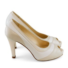 Pantofi de mireasa ivoire cu alb Nia