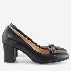 Pantofi office din piele naturala cu decor Amalia