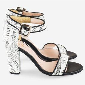 Sandale comode cu piele imprimeu ziar Daily