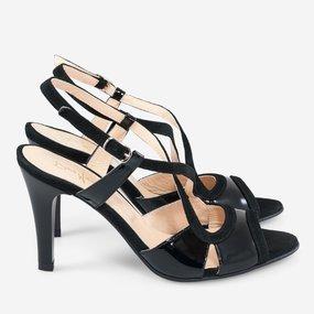 Sandale dama din piele naturala neagra Cora