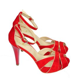 Sandale dama rosii din piele naturala intoarsa de ocazie