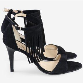 Sandale din piele naturala intoarsa neagra Fringe