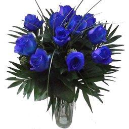 Buchet de 11 trandafiri albastri