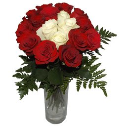 Buchet de trandafiri rosii si albi