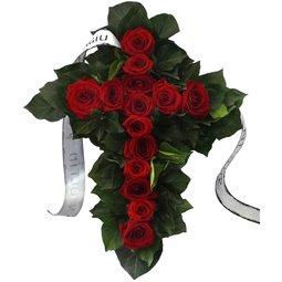 Cruce din trandafiri rosii