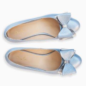 Balerini din piele naturala bleu cu funda Darling