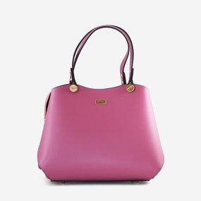 Geanta din piele naturala roz-lila Capri