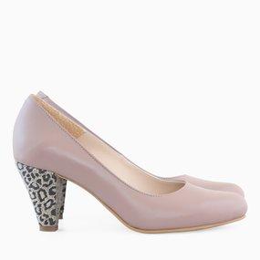 Pantofi cu toc comod din piele naturala grej Anika