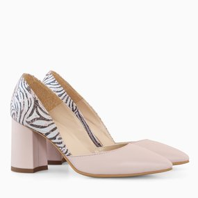 Pantofi cu toc comod din piele naturala nude somon Bellamy