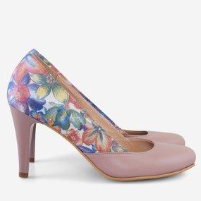 Pantofi cu toc din piele naturala grej cu imprimeu Bayou