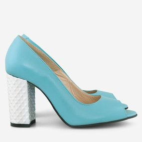 Pantofi cu toc gros din piele naturala turqoise Kampala