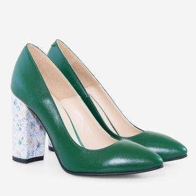 Pantofi cu toc gros din piele naturala verde Layla