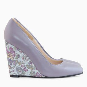 Pantofi cu toc ortopedic din piele lila Lauren