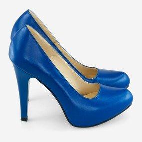 Pantofi dama albastru electric din piele naturala Isabella
