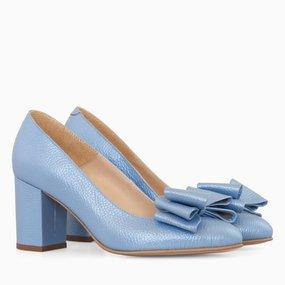 Pantofi dama cu toc comod din piele naturala bleu sidef Becky