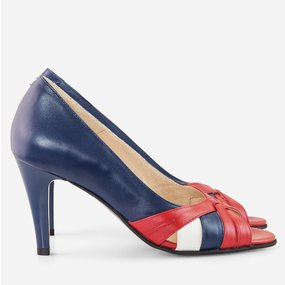 Pantofi dama cu toc din piele naturala bleumarin cu rosu Loveday
