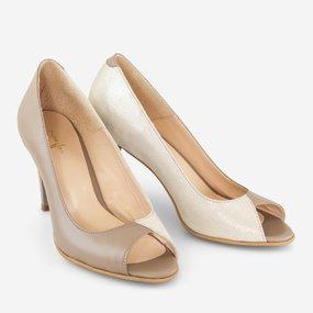 Pantofi dama cu toc din piele naturala cappuccino Sahara