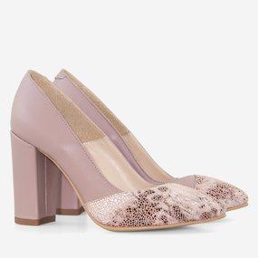 Pantofi dama cu toc din piele naturala grej Madison
