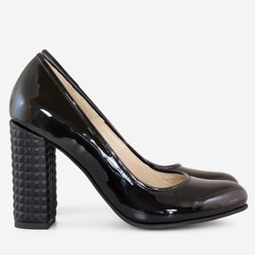 Pantofi dama cu toc gros din lac negru Bettina