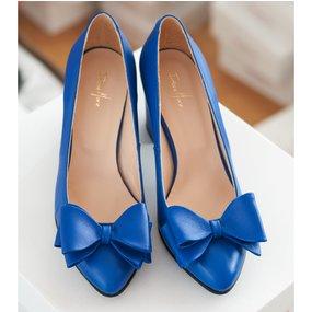 Pantofi dama din piele naturala albastra Angie
