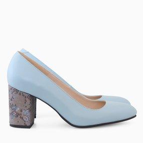 Pantofi dama din piele naturala bleu Bianca