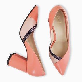 Pantofi dama din piele naturala corai Mara