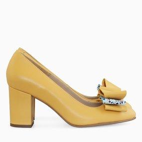 Pantofi dama din piele naturala galbena Kamala