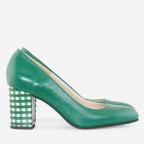 Pantofi dama din piele naturala verde Katya
