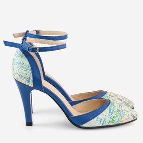 Pantofi decupati din piele naturala albastra Splendid