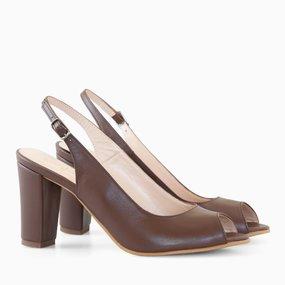 Pantofi decupati din piele naturala maro Camy