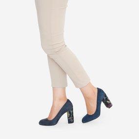 Pantofi din piele intoarsa bleumarin Leila