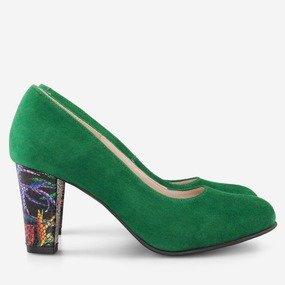Pantofi din piele intoarsa verde Giulia