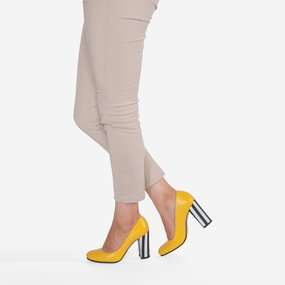 Pantofi din piele naturala cu toc gros Luna