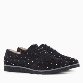 Pantofi oxford din piele naturala neagra Dimple