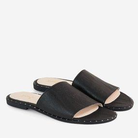 Papuci din piele naturala neagra Corsica
