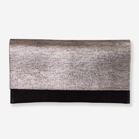 Plic din piele intoarsa neagra cu print argintiu
