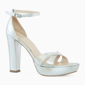 Sandale argintii din piele naturala Jillian