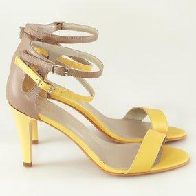 Sandale cappuccino cu galben Pastel