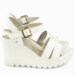 Sandale cu platforma albe Delia