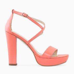 Sandale cu platforma si toc din piele naturala corai Bria