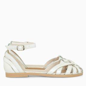 Sandale cu talpa joasa din piele naturala bej Caicos