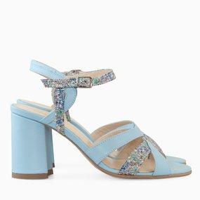 Sandale cu toc comod din piele naturala bleu Sylvia