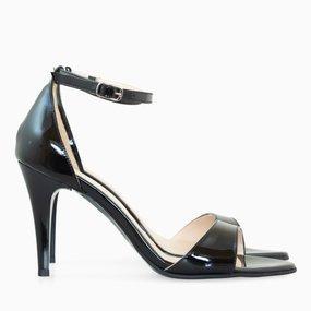 Sandale cu toc din lac negru Loulou