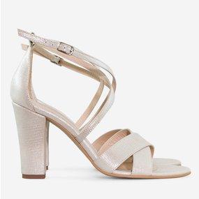 Sandale cu toc din piele naturala bej sidef Agnes