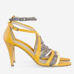 Sandale cu toc din piele naturala galbena Diva