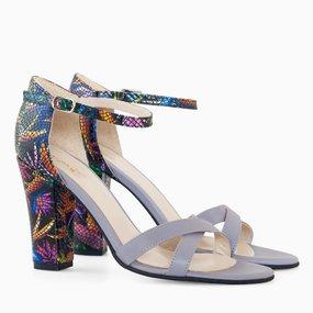 Sandale cu toc din piele naturala lila Keyla