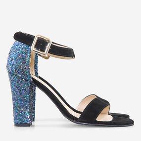 Sandale cu toc din piele naturala neagra Amelie