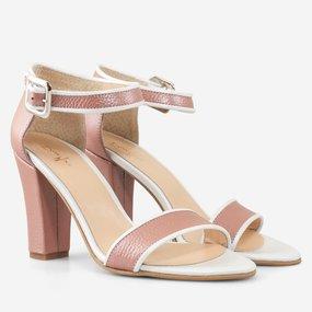 Sandale cu toc din piele naturala roz cu alb Emmylou